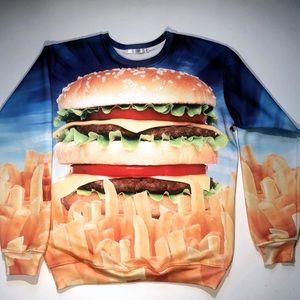 Selfies Unisex Graphic Cheeseburger Sweatshirt